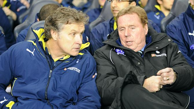 Kevin Bond (left) and Joe Jordan have left White Hart Lane following Harry Redknapp's (right) exit