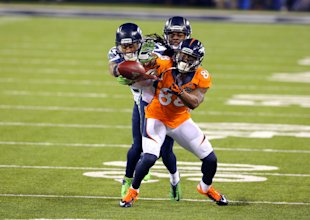 In PPR leagues, Demaryius Thomas is a safer choice than any RB. (Getty)