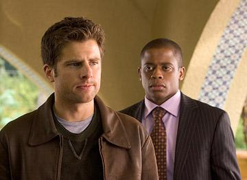 "James Roday and Dule Hill in ""Psych."""
