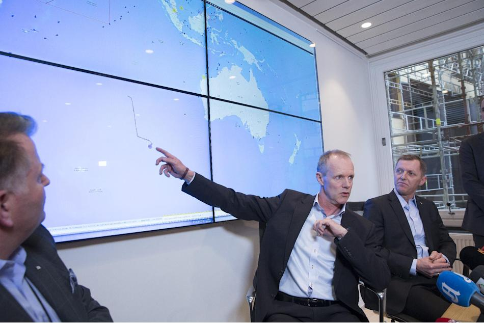 Sebjoern Dahl, Hoegh Autoliners, left, Sturla Henriksen, managing director of the Norwegian Shipowners Association, centre, and Ingar Skiaker, CEO of Hoegh Autoliners brief the press in Oslo Thursday