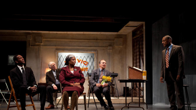"This undated publicity photo released by Boneau/Bryan-Brown shows, from left, Ron Cephas Jones, Bob Dishy, Tonya Pinkins, Zach Grenier and Giancarlo Esposito in a scene from John Patrick Shanley's ""Storefront Church,""  in New York.  (AP Photo/Boneau/Bryan-Brown, Kevin Thomas Garcia)"