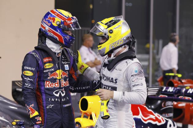 Red Bull Formula One driver Webber of Australia is congraluted by Mercedes Formula One driver Rosberg of Germany after the qualifying session of the Abu Dhabi F1 Grand Prix at the Yas Marina circuit o