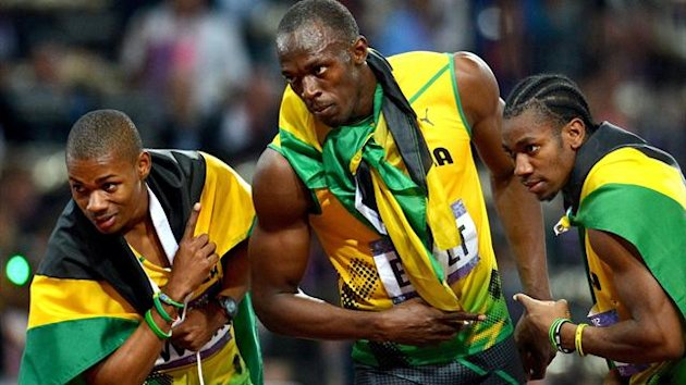 Usain Bolt, Yohan Blake and Warren Weir of Jamaica (AFP)