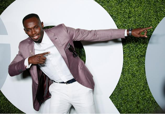Jamaican sprinter and GQ Man of the Year Usain Bolt poses at the GQ Men of the Year Party in West Hollywood