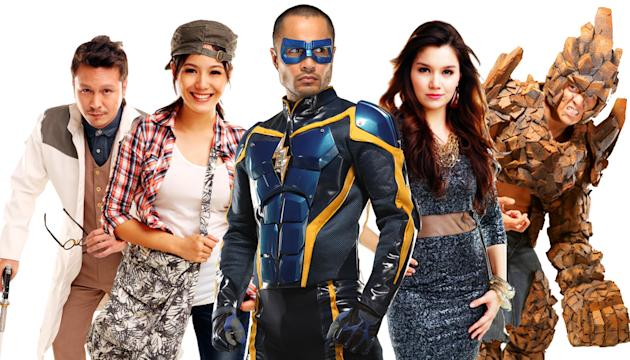 The cast of Kidlat: Baron Geisler, Ritz Azul, Derek Ramsay, Nadine Samonte and Wendell Ramos (Photo courtesy of TV5)