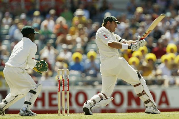 Matthew Hayden of Australia in action