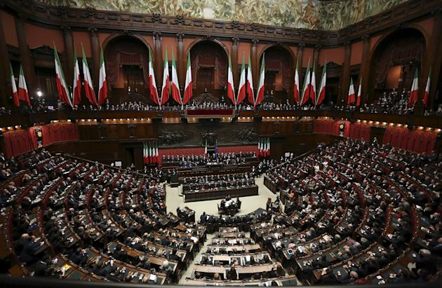 File photo of Italy's President Sergio Mattarella speaking at lower house of parliament in Rome