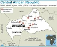 Map of the CAR, locating rebel-held towns, including Kaga-Bandoro. More regional troops head to help secure the capital of the CAR in the face of a rebel advance, as France said it would not intervene in its former colony's conflict.