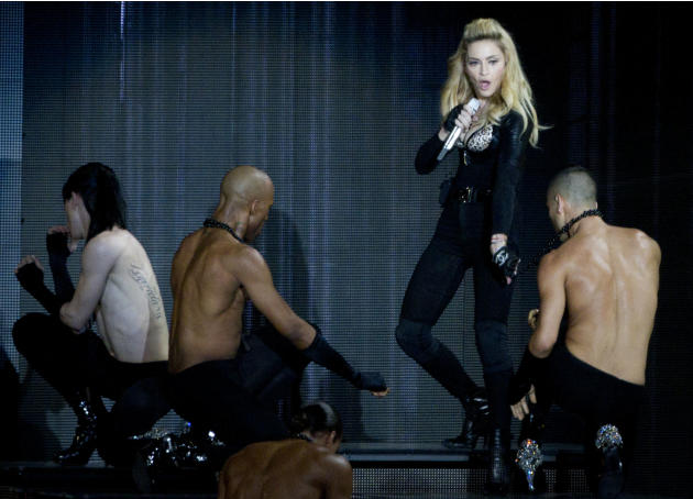 U.S pop icon Madonna performs at the Ramat Gan stadium near Tel Aviv, Israel,Thursday, May 31, 2012. Pop music star Madonna is kicking off her new world tour in front of tens of thousands of ecstatic