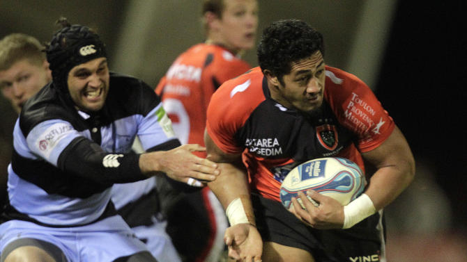 Newcastle Falcons' Ryan Shortland (L) tackles Toulon's Alafoti Faosiliva (R) during a pool 2, European Challenge Cup rugby union match at Kingston Park, Newcastle upon Tyne, England, on December 08, 2011. AFP PHOTO/GRAHAM STUART (Photo credit should read GRAHAM STUART/AFP/Getty Images)