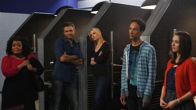 """This image released by NBC shows cast members from """"Community,"""" from left, Yvette Nicole Brown as Shirley, Joel McHale as Jeff, Gillian Jacobs as Britta, Danny Pudi as Abed, and Alison Brie as Annie. """"Community"""" returned as a mid-season replacement in February _ for the first time without any involvement from creator Dan Harmon.  (AP Photo/NBC, Trae Patton)"""