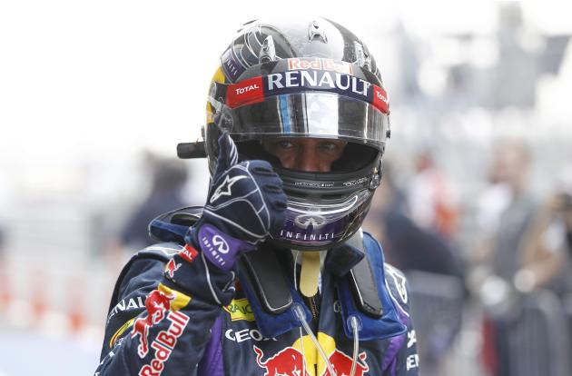 Red Bull Formula One driver Vettel reacts after the qualifying session of the Indian F1 Grand Prix at the Buddh International Circuit in Greater Noida