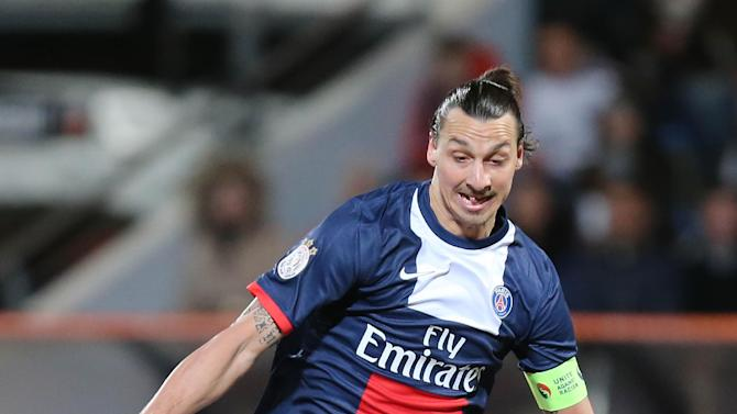 Paris Saint Germain's forward Zlatan Ibrahimovic of Sweden runs with the ball during his French League one soccer match against Lorient, in Lorient, western France, Friday, March 21, 2014