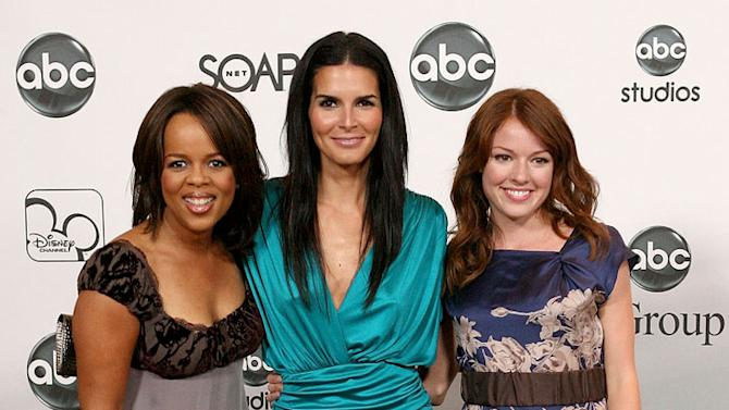 Paula Newsome, Angie Harmon and [ytvperson id=346861]Aubrey Dollar of Women's Murder Club arrive at the ABC Summer Press Tour Party. Aubrey Dollar