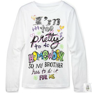 JCPenney's Too Pretty to Do Homework T-Shirt