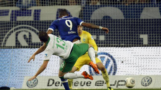 Schalke 04's Boateng scores a goal against Werder Bremen during the German first division Bundesliga soccer match in Gelsenkirchen