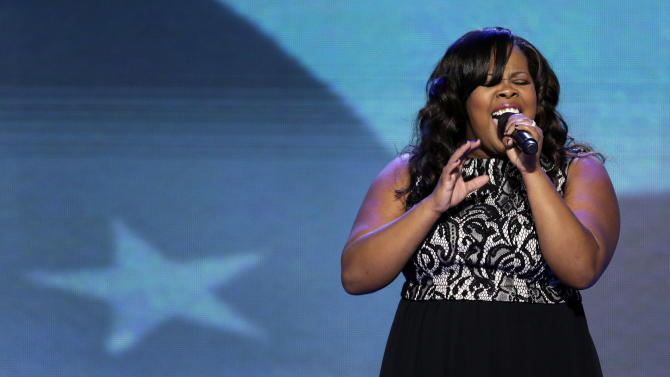 "Singer and ""Glee"" actress Amber Riley sings the National Anthem at the Democratic National Convention in Charlotte, N.C., on Tuesday, Sept. 4, 2012. (AP Photo/J. Scott Applewhite)"