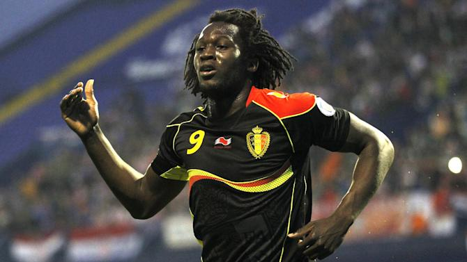 Belgium's Romelu Lukaku celebrates his opening goal against Croatia during their group A World Cup qualifying soccer match in Zagreb, Croatia, Friday, Oct. 11, 2013