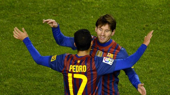 Barcelona's Argentinian Forward Lionel Messi (R) Celebrates AFP/Getty Images