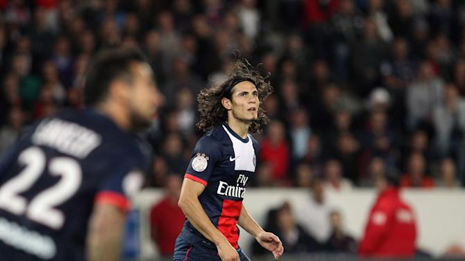 Paris Saint Germain's forward Edinson Cavani from Uruguay, looks on  during his French League One soccer match against Monaco, at the Parc des Princes stadium, in Paris, Sunday, Sept. 22, 2013