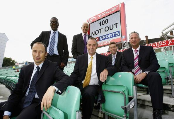 LONDON - AUGUST 17:  Sky commentators (back L-R) Michael Holding, David Gower, (front L-R) Nasser Hussain, David Lloyd, Michael Atherton and Ian Botham pose for a photograph as they celebrate Sky's 10
