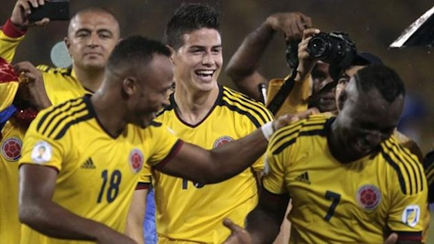 Colombia celebrate after defeating Ecuador during their 2014 World Cup qualifying match in Barranquilla (Reuters)