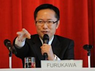 Economy Minister Motohisa Furukawa (pictured in 2011) on Thursday said Japan's economy, hit hard by last year's quake-tsunami and a surging yen, was likely to see further expansion in April-June, but warned growth could be hampered by turmoil in Europe