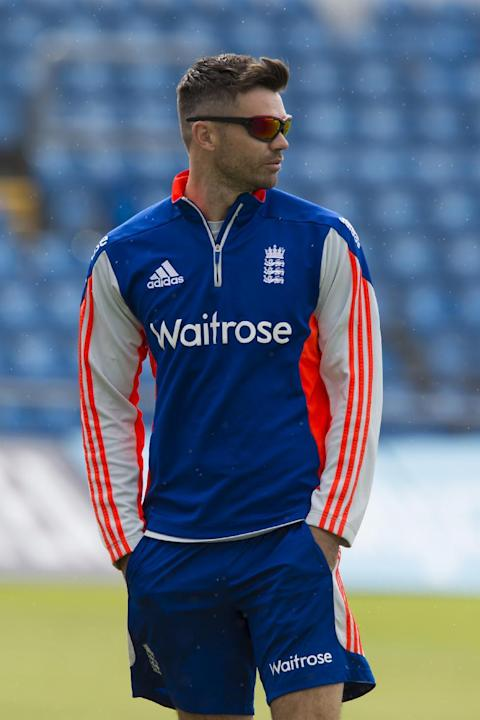 England's James Anderson is seen at nets the day before the second Test match between England and New Zealand at Headingley cricket ground in Leeds, England, Thursday, May 28, 2015.(AP Photo/Jon S