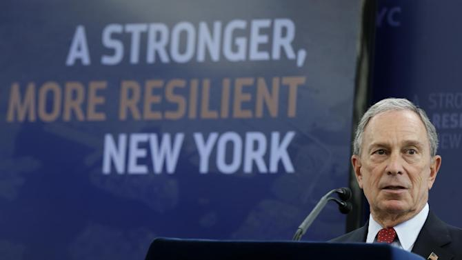 "New York City Mayor Michael Bloomberg speaks about the the city's long-term plans for dealing with climate change at the Brooklyn Navy Yards in New York, Tuesday, June 11, 2013. Bloomberg said, ""Piece by piece, over many years and even decades, we can build a city that's capable of preparing better, withstanding more and overcoming anything."" (AP Photo/Seth Wenig)"