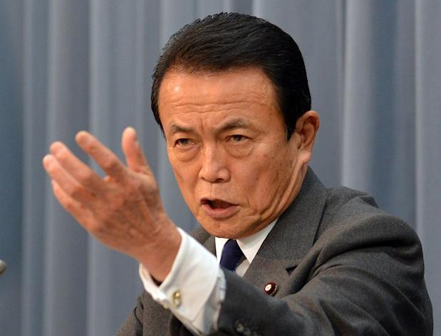 "Japanese finance minister Taro Aso speaks at a press conference in Tokyo on Janaury 15, 2013. Aso said the elderly should be allowed to ""hurry up and die"" instead of costing the government money for end-of-life medical care"