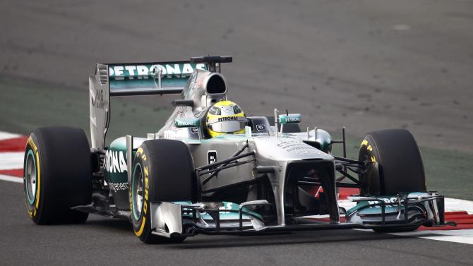 Mercedes Formula One driver Rosberg drives during the qualifying session of the Indian F1 Grand Prix at the Buddh International Circuit in Greater Noida