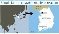 Map locating the showing the Yeonggwang nuclear reactor site in South Korea. South Korea on Monday restarted one of three nuclear reactors shut down for safety reasons, easing fears of power shortages during the harsh winter