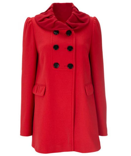 How cute is this rouched-collared coat? You'll certainly be a seductive  lady in red in this getup.  £80, wallis.co.uk