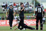 New Zealand's Doug Bracewell (C) takes a catch to dismiss West Indies batsman Dwayne Smith during the second Twenty20 in Lauderhill, Florida, on July 1, 2012. Mike Hesson, who recently quit as Kenya's national cricket coach citing security concerns, was on Friday appointed to take the reins of the New Zealand team