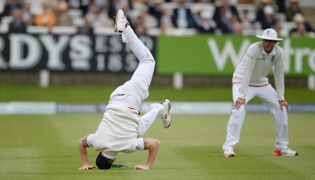 Cricket: England's Ben Stokes is watched by Stuart Broad