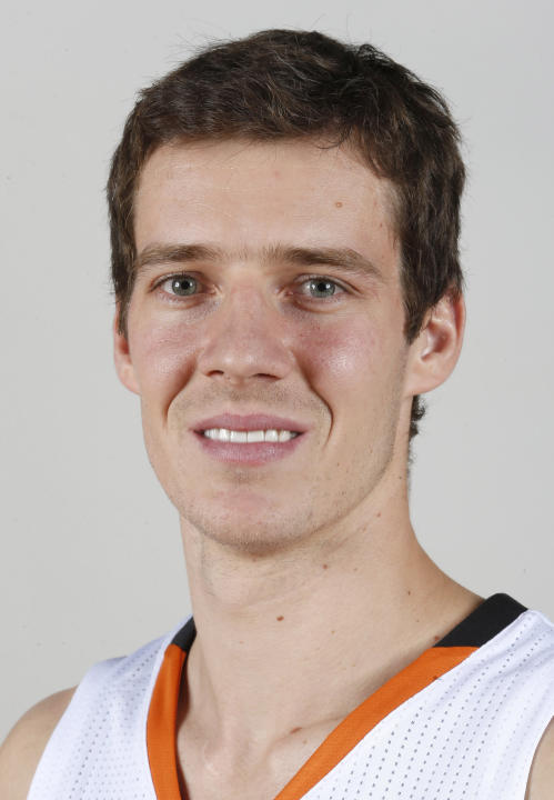 FILE - This Sept. 30, 2013 file photo shows Phoenix Suns NBA basketball player Goran Dragic, of Slovenia, during the teams NBA media day in Phoenix. Dragic has been honored as the NBA's Most Impro
