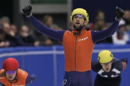 Netherlands' Kerstholt celebrates after winning the men's 3000 meters race at the European Short track Speed Skating Championship in Mlada Boleslav