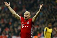 Bayern Munich's midfielder Arjen Robben reacts during the UEFA Champions League round of sixteen football match against Arsenal February 15, 2017