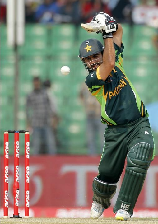 Pakistan's Shehzad plays a ball against Afghanistan during their Asia Cup 2014 ODI cricket match in Fatullah
