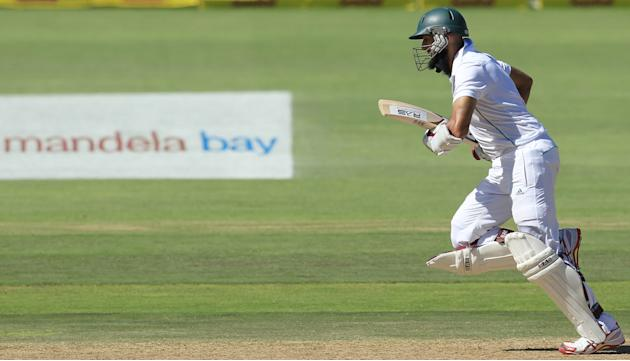 South Africa's batsman Hashim Amla, runs between the wickets on the third day of their 2nd cricket test match against Australia at St George's Park in Port Elizabeth, South Africa, Saturday, F