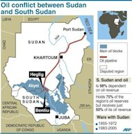 "Map of Sudan and South Sudan locating main oil blocks, pipeline and oil towns of Heglig and Bentiu. Sudanese President Omar al-Bashir on Thursday vowed to teach ""a lesson by force"" to the South Sudanese government over its seizure of the north's main Heglig oil field"