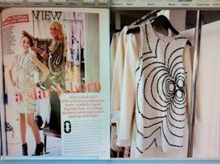 Rachel Zoe used a vintage dress for a Teen Vogue shoot in 2007 (left), and presented a very similar design as her own yesterday (right). Photo via @JaneKeltnerdeV