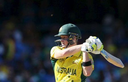 File photo of Australian batsman Steve Smith playing a shot during his Cricket World Cup semi-final match against India in Sydney