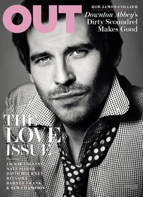 Rob James-Collier on the February 2013 cover of Out magazine -- Out Magazine