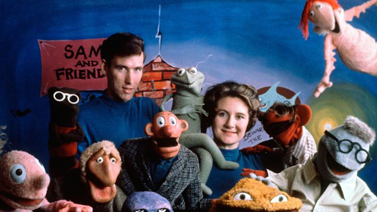 FILE - This 1960 handout photo provided by The Jim Henson Company shows Jane Henson, right, with Jim Henson and the cast of Sam and Friends, in Washington. Jane Henson died in her Connecticut home on April 2, 2013 after a long battle with cancer.  (AP Photo/The Jim Henson Company, Del Ankers)
