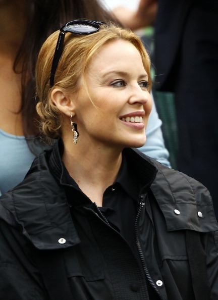 Kylie Minogue watches on from the Royal Box on Centre Court on day eleven of the Wimbledon Lawn Tennis Championships at the All England Lawn Tennis and Croquet Club on July 6, 2012 in London, England.