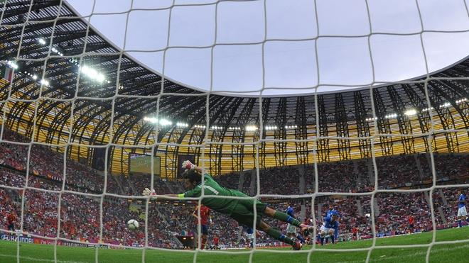 Italian Goalkeeper Gianluigi Buffon Dives  AFP/Getty Images