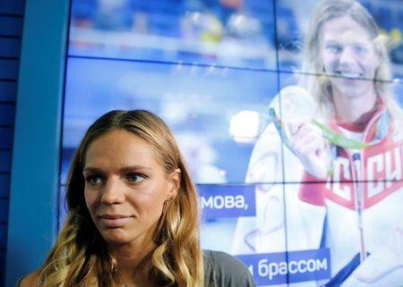 Russia's Olympic medalist Efimova attends a news conference in Moscow