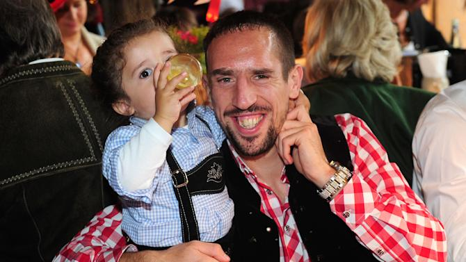 Franck Ribery of Bayern Munich from France attends the Oktoberfest beer festival in Munich southern Germany, Sunday, Oct 6, 2013