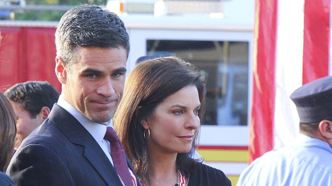 """Indelible""  -- Det Don Flack (Eddie Cahill) and Det. Jo Danville (Sela Ward) at the memorial/dedication at the Brooklyn Wall of remembrance during the eighth season premiere of CSI: NY, Friday, Sept. 23 (9:00-10:00 PM, ET/PT) on the CBS Television Network. Photo: Bill Inoshita/CBS ©2011 CBS Broadcasting Inc. All Rights Reserved. <a href=""/baselineshow/4769320"">CSI: New York</a>"